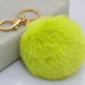 Neon green Genuine Rabbit fur pom pom keychain for car key ring Bag Pendant lucky trinket