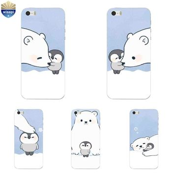 For iPhone SE Phone Case For iPhone 5G 5S Cover 4.0 Inch For iPhone 5C Shell Soft TPU Bears & Penguins Design Painted Coque