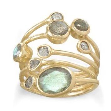 Uncut Natural Diamond & Labradorite 14kt-Gold-Over Sterling Silver Stacked Ring: Sizes 6-10