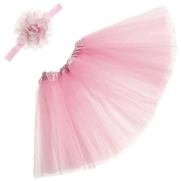 Newborn Infant Photography Props Costume Baby Princess Tutu Skirt Headband Clothes Set @ZJF