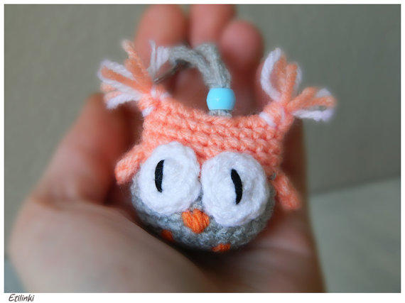 Amigurumi Owl Keyring : Crochet Animal Keychain,Owl Amigurumi from Etilinki on Etsy