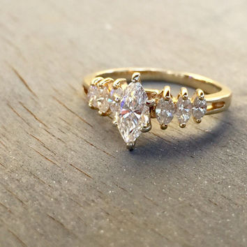 ON SALE Vintage Diamond Engagement Ring 14k Gold Anniversary Gift Marquise Diamonds Multistone Ring For Her Fine Jewelry