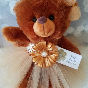 Flower Girl Gift Brown Teddy Bear in your choice of tutu dress color