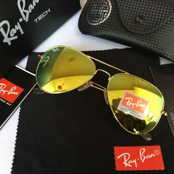 Ray-Ban RB 3025 Aviator Sunglass Gold Grass Green RB 3025