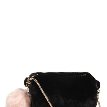 Plush Pom Pom Crossbody Bag