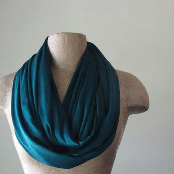 TEAL Infinity Scarf - Lightweight Circle Scarf - Jewel Tone Jersey Loop Scarf - Vibrant Eternity Scarf