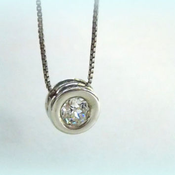Vintage Solitaire Necklace Swarovski Crystal Fine Wedding Jewelry and Gifts on Etsy
