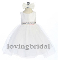 2014 White Flower Girl Dress Flower Girl Toddler Wedding Special Occasion