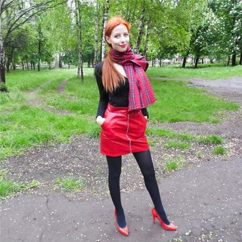 Women Faux Leather Skirt Sexy Mini Skirt With Two Pockets High Quality A-Line Red Basic Skirt