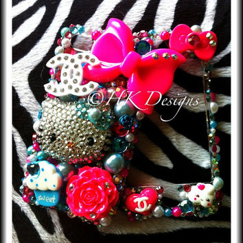 Super Kawaii Pink x Blue Hello Kitty deco iphone 4 case by Hkrach