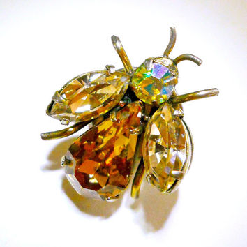 Bee Rhinestone Pin Regency Jewels Figural Bug Topaz AB Vintage