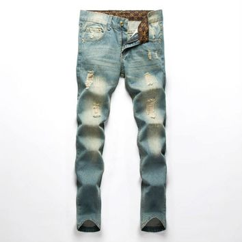 Famous Brand Men Jeans Fashion fog Designer denim Blue Printed Pants For Male Trousers,button fly jeans men