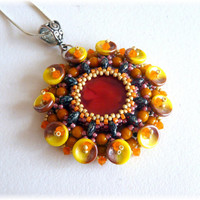 Beaded pendant, original pendant, beadwork SETI pendant - original design