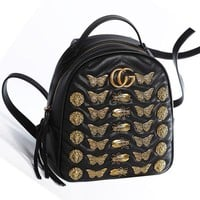 Gucci GG Marmont Animal Studs Leather Backpack Daypack