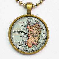 Sardinia Island Map Necklace - Sardinia, Mediterranean Sea -Vintage Map Pendant Series