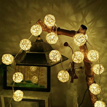 2-Meter LED Rattan Ball String Light (in White & Multi-Color)
