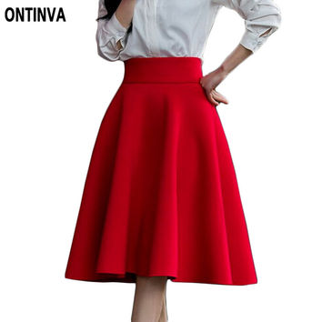 5XL Plus Size Skirt  High Waisted Skirts Womens White Midi Skort Pleated Tennis Skirt Saia Preta Pink Black Red Blue Colors 2016