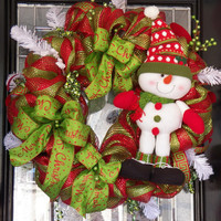"""Deluxe Deco Mesh Whimsical Christmas Wreath 26"""", Christmas Decoration, Fast Shipping!"""