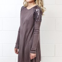 Sequin Shoulders Hacci Sweater Dress {Cocoa}