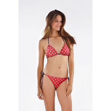 Thaikila Red w/ White Polka Dot Reversible Triangle Top and Side Tie Brazilian Bottom Bikini Swimwear Swimsuit Set