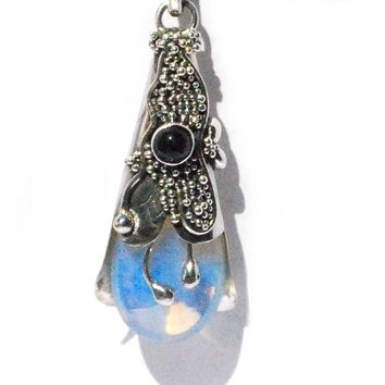 Sterling Silver Wand Simulated Moonstone  Pendant with Blue Topaz