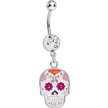Clear Gem White and Pink Sugar Skull Dangle Belly Ring