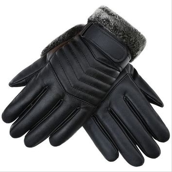 Autumn Winter Men PU Leather Thickened Touch Screen Warm Full Fingers Windproof Driving Waterproof Gloves Mittens G121