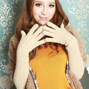 Women's Winter Elegant Woolen Long Gloves Arm Warmer Cloak Finger Extended Long Gloves Mittens High Quality 2015 New