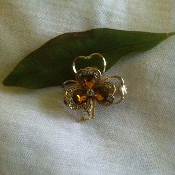 Shamrock Pin Vintage Irish Cultural Brooch St. Patrick's Day Gift Amber Shamrock Pin Shamrock Brooch Heart Shamrock Irish Themed Jewelry