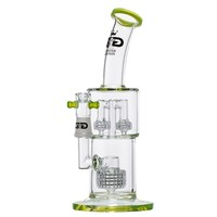 Grace Glass - Limited Edition Bong with Drum Diffuser & Double Mini Drum Diffuser - Yellow/Green
