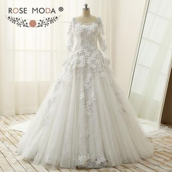 Rose Moda Luxury Bateau Neck Long Sleeves Muslim Lace Wedding Dress with Handmade Flower Illusion Back Ball Gown with Long Train