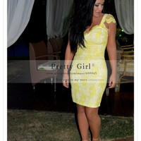 Fashion Elegant Yellow Lace Bandage Short Cocktail Dresses Sexy Sweetheart with Cap Sleeve Backless Party Gowns vestido de festa