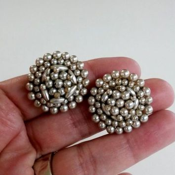 Vtg Cluster Bead Faux Pearl Clip Earrings Wired Japan