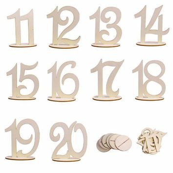 Modern Home Ornaments 11-20 Wooden Table Numbers Set with Base Wedding Birthday Party Decor Stand 10cm for Wood Crafts