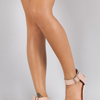 Twisted Back Ankle Cuff Open Toe Flat Sandal