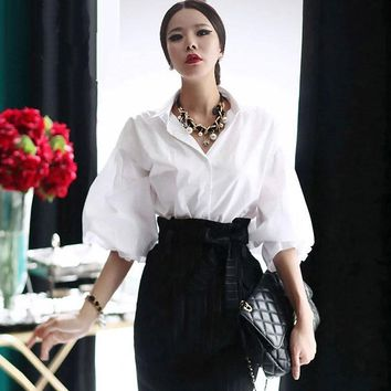 Women Lantern Sleeve Blouse Vintage Puff White Tops Female Brand Turn Down Collar Single Breasted Loose Sleeve white Shirt