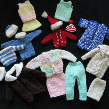 Barbie Sweaters Hats Clothing Vintage Hand Knit Lot of 17 pieces