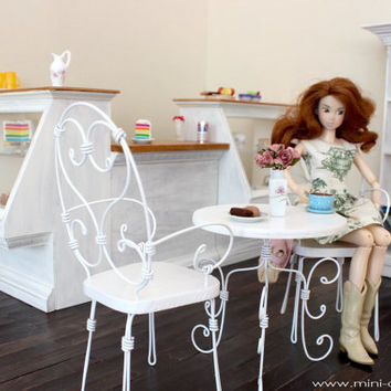 1/6 scale Table and  Doll Chairs french bistro set for dolls (Blythe, Barbie, Bratz, BJD, Momoko).