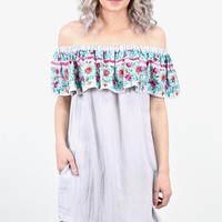 Ruffled Up Off Shoulder Floral Embroidered Dress {Silver}