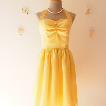 Yellow gold dress classy vintage inspired party dress prom evening dress yellow bridesmaid party dress plus size :BLOOM - size xs-xl, custom