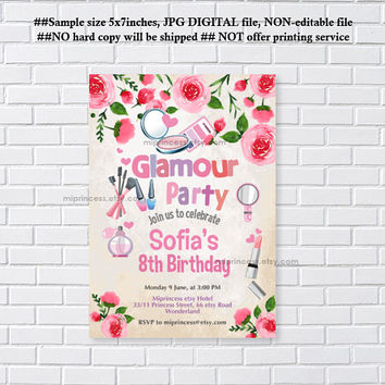 Glamour party invitation, Spa invitation,  Makeup invitation, spa party, 4th 5th 6th 7th 8th 9th girl beauty party - card 1251