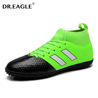 DR.EAGLE Men's indoor turf spike futzalki original football boots ankle high cleats soccer shoes boot de soccer superfly crampon