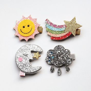 New Rainbow Hairpin 20pc Cloud Hair Clip Glitter Felt Moon with Mini Stars Silver Could Hair Grip Stripe Gold Sun Shape Hairpins
