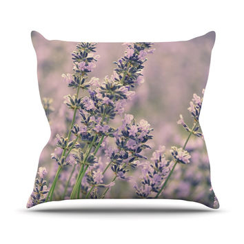 "Robin Dickinson ""Smell the Flowers"" Lavender Green Outdoor Throw Pillow"
