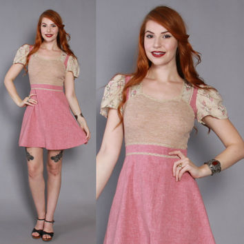 70s Floral DOLLY DRESS / 1970s Pink Chambray & Beige Boho Micro Mini Dress