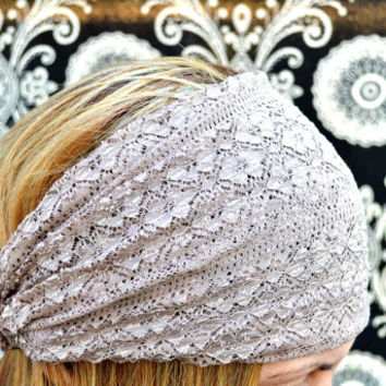 Taupe Lace Headband Stretchy Wide Lacy Head Band