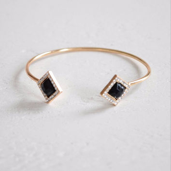 Black Stone Pave Bangle
