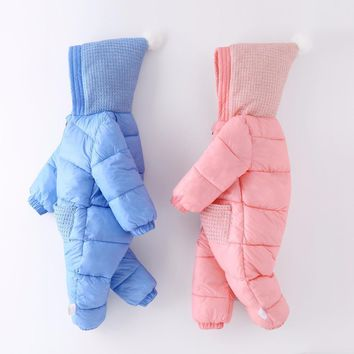 Unisex Baby Snow wear Cotton Padded Clothing Winter Warm Hooded Down Parkas Toddler Rompers Infant Jumpsuits Newborn Outerwear