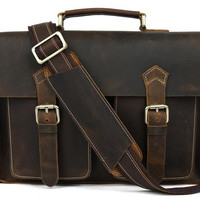 Vintage Crazy Horse Leather Americano Satchel Bag