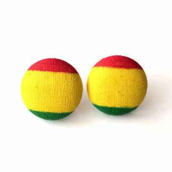 Mini rasta fabric button earrings